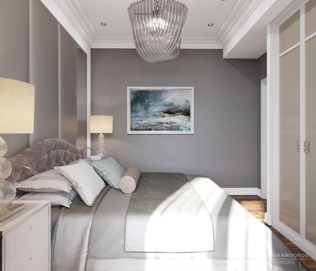 Картина в интерьере спальни