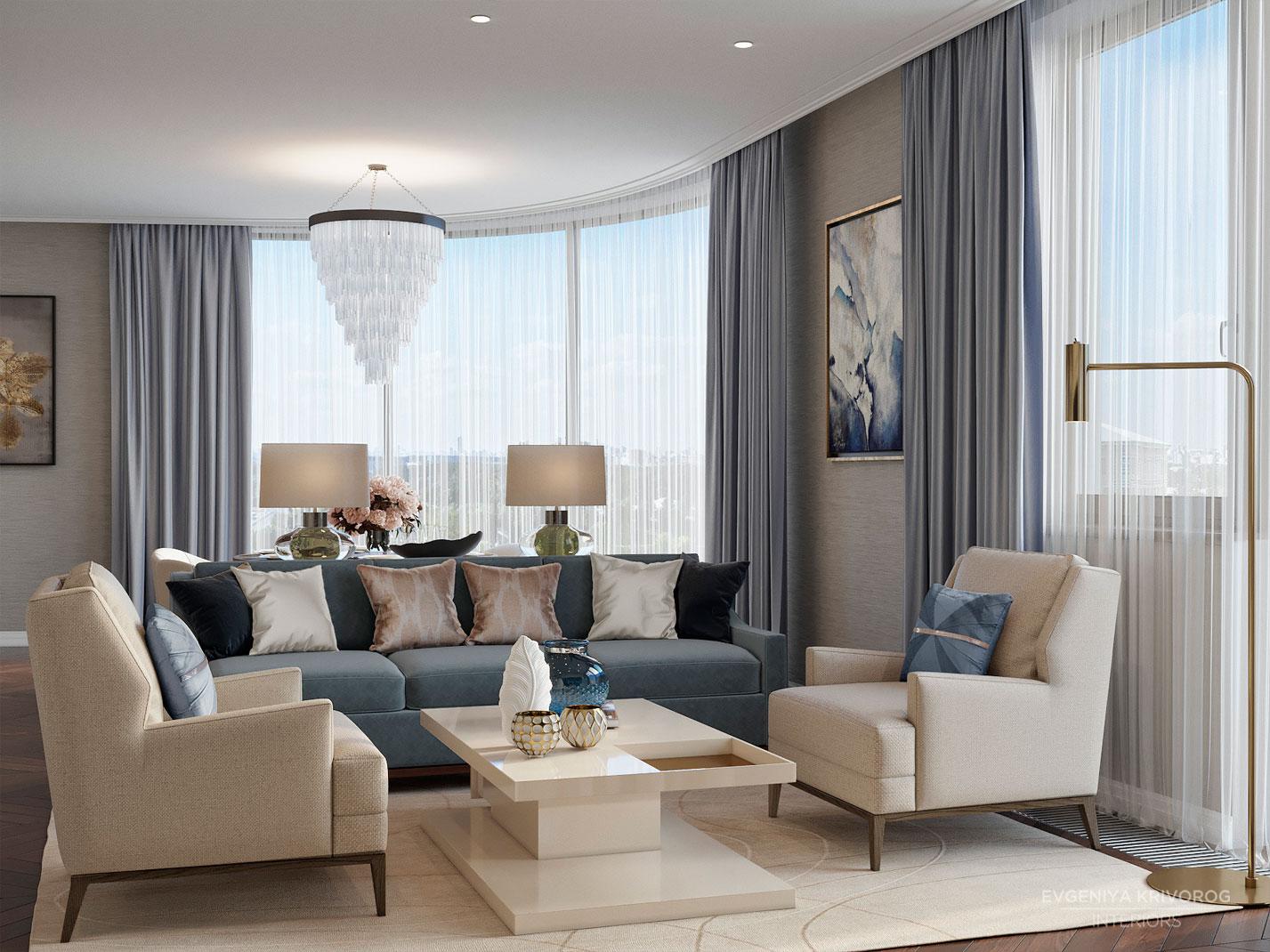 Жилой комплекс Воробьев Дом дизайн гостиной | дизайн студия Евгении Криворог